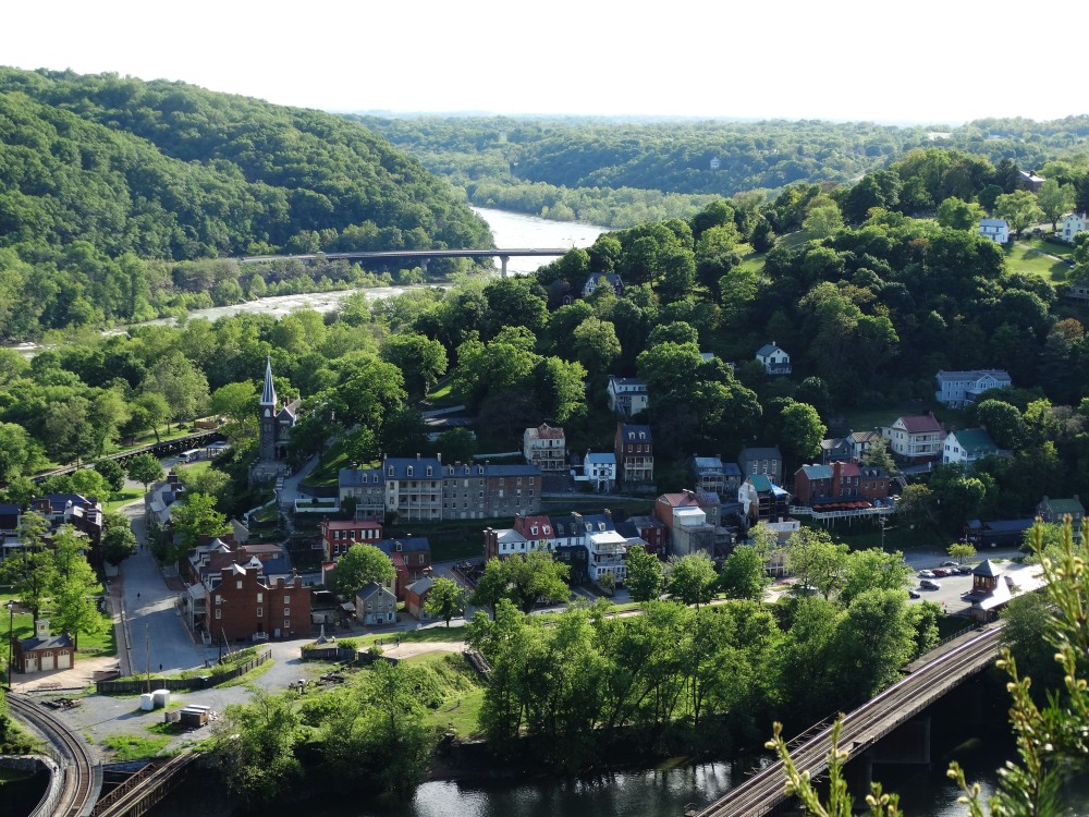 Image of Harpers Ferry, West Virginia taken from the top of Maryland Heights hiking trail.
