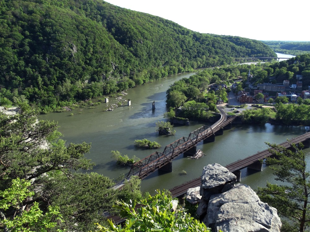 Another angle of an image taken from the top of Maryland Heights showing a railroad.